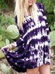 Crew Neck Women Holiday Printed Ombre/tie-Dye Dresses