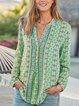 Boho V Neck Floral Shirts & Tops
