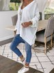 V Neck Solid Casual Shirts & Tops