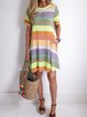 Women Casual Striped Tunic Midi Dress