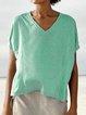Short Sleeve Solid V Neck Paneled Holiday Tops