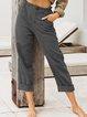 Casual Cotton Plain Linen Pants