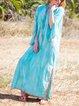 Fringed V Neck Shift Holiday Boho Solid Maxi Plus Size Dresses