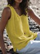 Plus Size Sleeveless Round Neck Slit Side Solid Casual Tank Tops