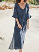 Plus Size Kaftan V-Neck Half Sleeves Paneled Shift Midi Dresses