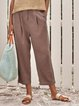 Cotton Solid Ruched Casual Pants