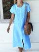 Plus Size Kaftan Slit Hem Short Sleeves Solid Shift Midi Dresses