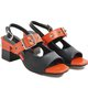 Women Summer Color Block Chunky Heel Sandals