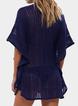 Solid Boho Crocheted V Neck Cover-Ups Beachwear