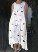 Crew Neck Sleeveless Butterfly Print Striped Midi Dress