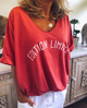 Cotton-Blend Short Sleeve Casual Letter Shirts & Tops