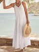Plus Size Maxi Printed Polka Dots Surplice Neck Shift Holiday Dresses