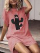 Short Sleeve Casual Printed Cotton-Blend Dresses