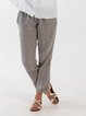 Linen Casual Plain Pants