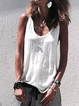Crew Neck Casual Solid Sleeveless Shirts & Tops