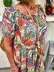 Plus Size Boho Midi Dresses Women Shift Crew Neck Daily Printed Dresses