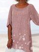 Plus Size Floral Print Irregular Women Summer Blouses