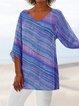 3/4 Sleeve Linen Floral-Print Blouses