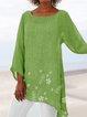 Vintage 3/4 Sleeve Floral-Print Crew Neck Blouse