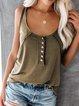 Sleeveless Plain Casual Shirts & Tops