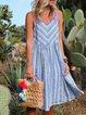 V Neck Women Summer Caftans Shift Holiday Striped Dresses