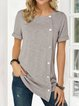 Buttoned Solid Casual Shirts & Tops