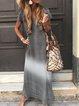 Plus Size Women Short Sleeve V Neck Vintage Gradient Striped Casual Dresses