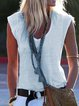 Summer White Casual V Neck Short Sleeve Daily Shirts & Tops