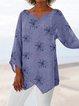 Plus Size Women Floral Blouses 3/4 Sleeve Asymmetrical Tops