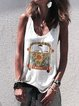 Sleeveless Cotton-Blend Printed Casual Shirts & Tops