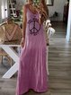 Pink Boho Cold Shoulder V Neck A-Line Dresses