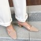 Date Genuine Leather Square Toe Chunky Heel Mule Slide Sandals