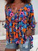 Plus Size Floral Bouses 3/4 Sleeve High Low Sweet Tops