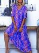 Summer Chiffon Printed V Neck A-Line Half Sleeve Boho Holiday Dresses
