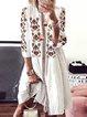 White Round Neck 3/4 Sleeve Holiday Dresses