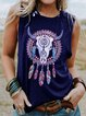 Round Neck Sleeveless Bull Head Print Casual Top