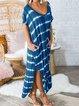 Striped Short Sleeve Round Neck Dresses
