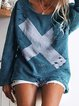 Long Sleeve Geometric Crew Neck Casual Shirts & Blouses