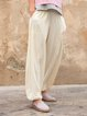 Casual Solid Cotton Holiday Pockets Pants