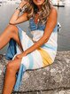 White-Blue Striped Cotton Slit Holiday Dresses