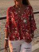 Red Floral Half Sleeve Cotton-Blend Shirts & Tops