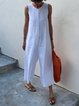Casual Solid Sleeveless Jumpsuits