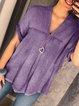 Women Casua V Neck Cotton-Linen Tops