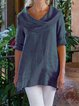 Women's Casual Holiday Cotton-Linen Top