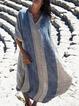 Linen Shift Daytime Casual Stripes Maxi Dresses