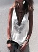 Cotton Sleeveless V Neck Abstract Shirts & Tops