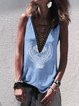 Cotton Sleeveless V Neck Abstract Shirts & Tops