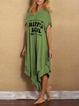 Cotton-Blend Letter Short Sleeve Dresses