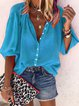 Plain V Neck Holiday Buttoned 3/4 Sleeve Blouse