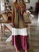 Color-Block Ombre Casual A-line Dresses